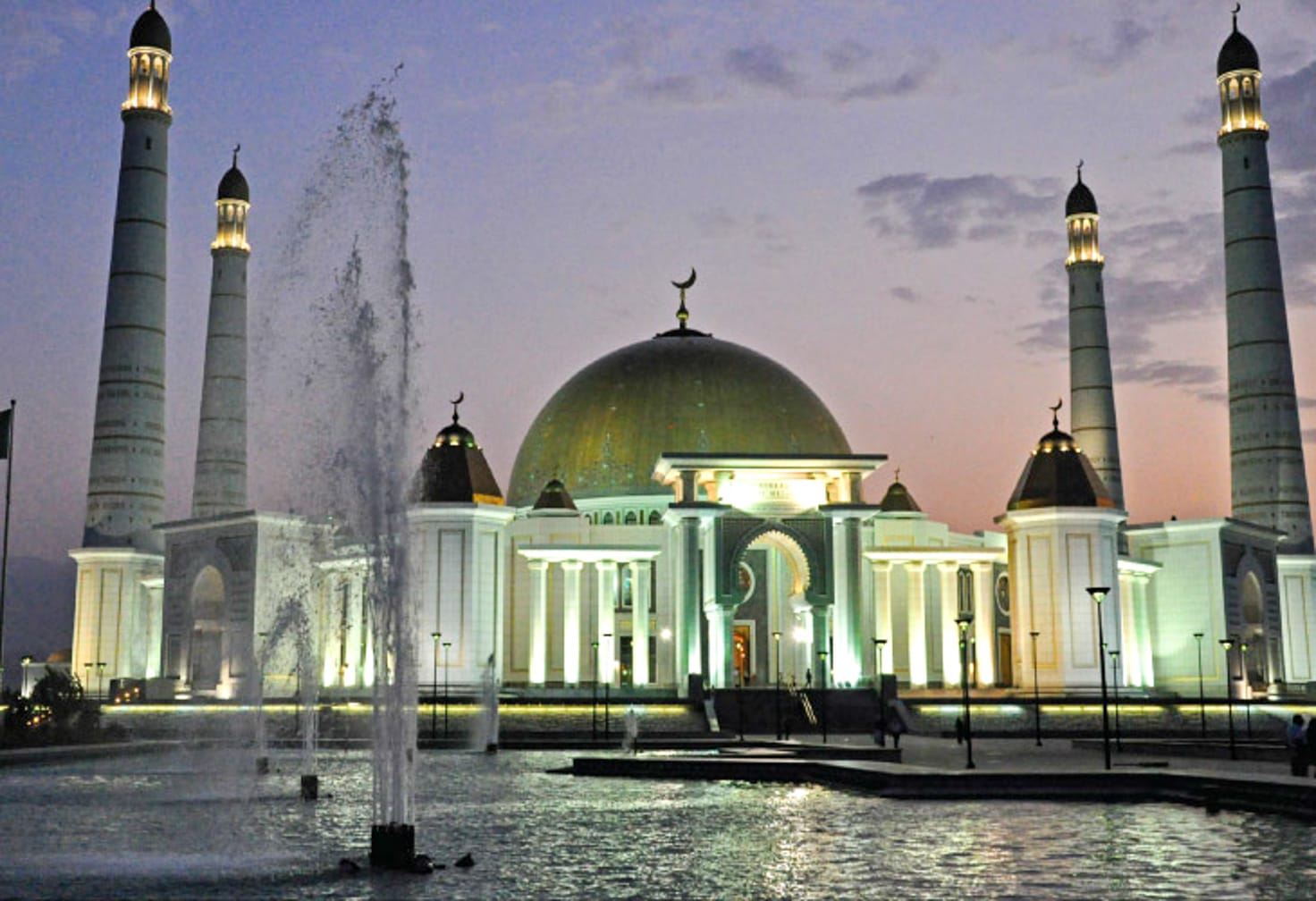 Ashgabat at night on the Republics of the Silk Road: Moscow to Almaty journey