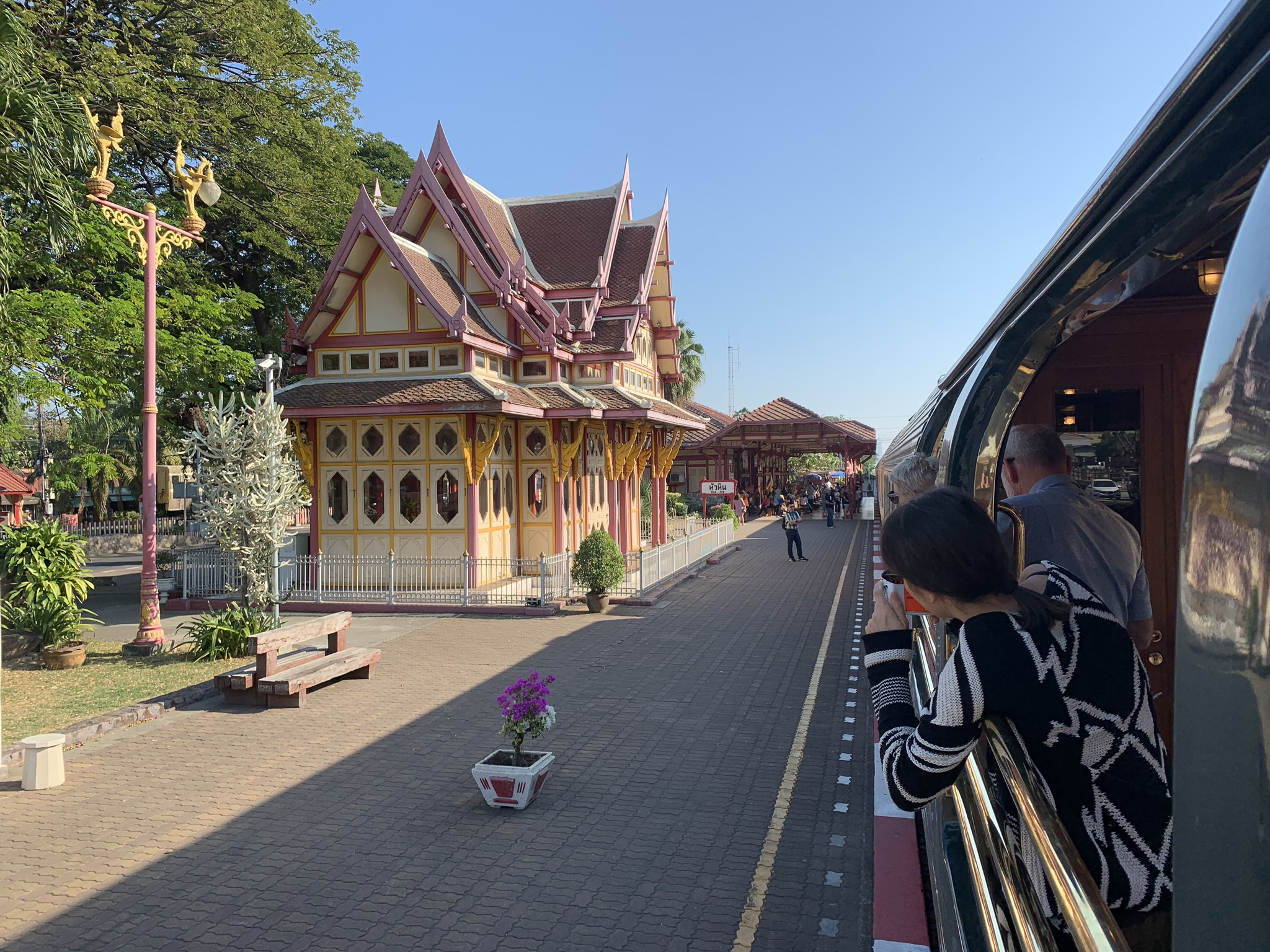 Pax photograph Hua Hin station from Obs Car 1