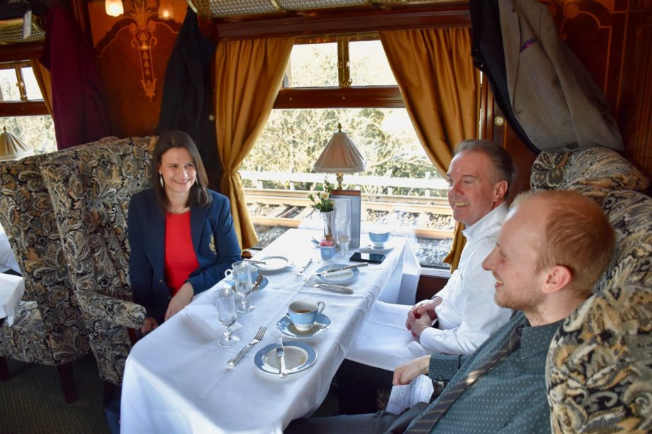 Guests eating on the Belmond British Pullman train