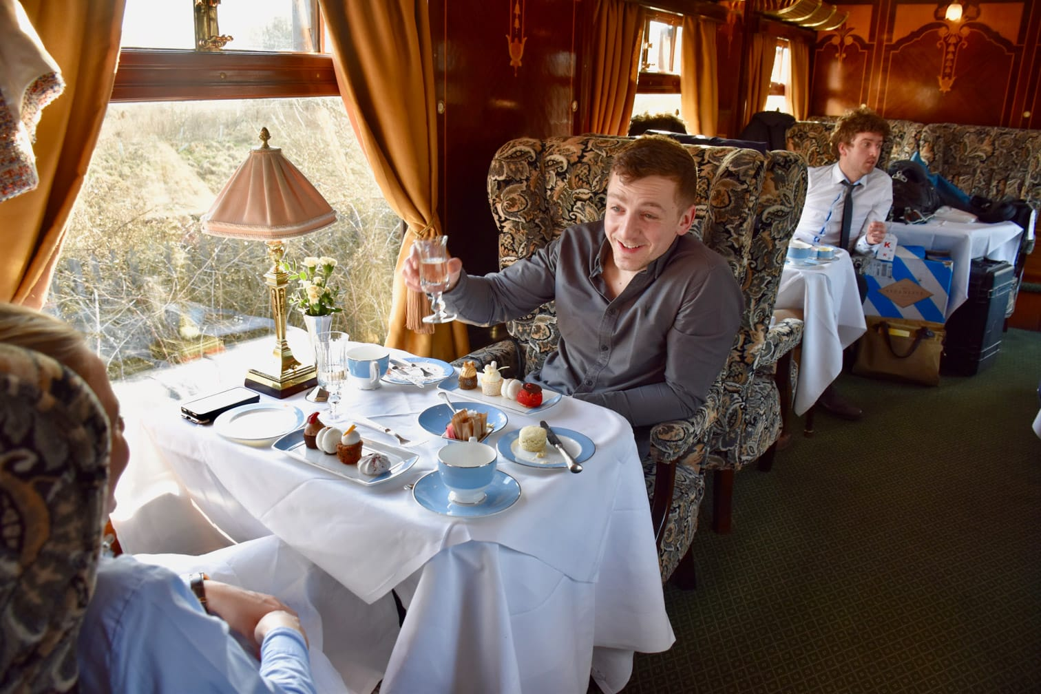 Guests dining in the Belmond British Pullman train