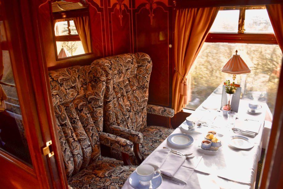 Seating on the Belmond British Pullman train
