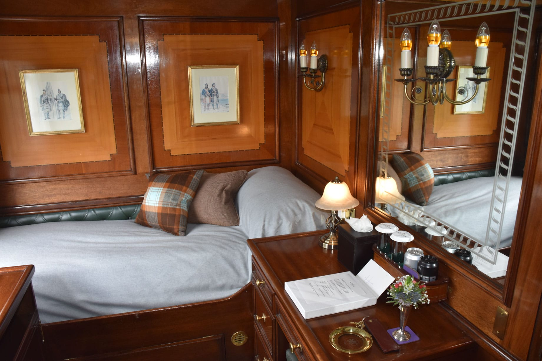 Bedroom on the Belmond Royal Scotsman