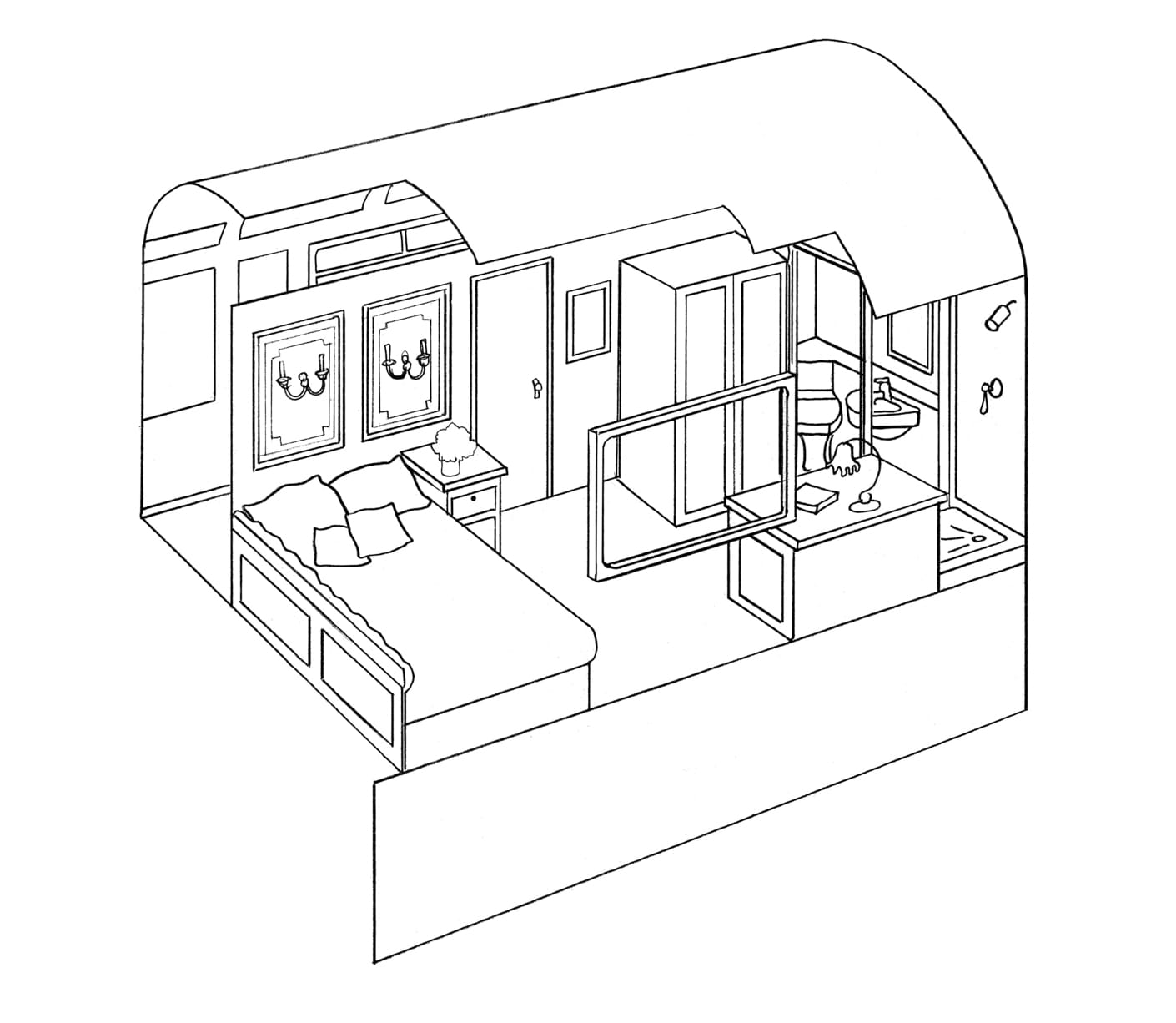 Double cabin diagram of the Belmond Royal Scotsman train