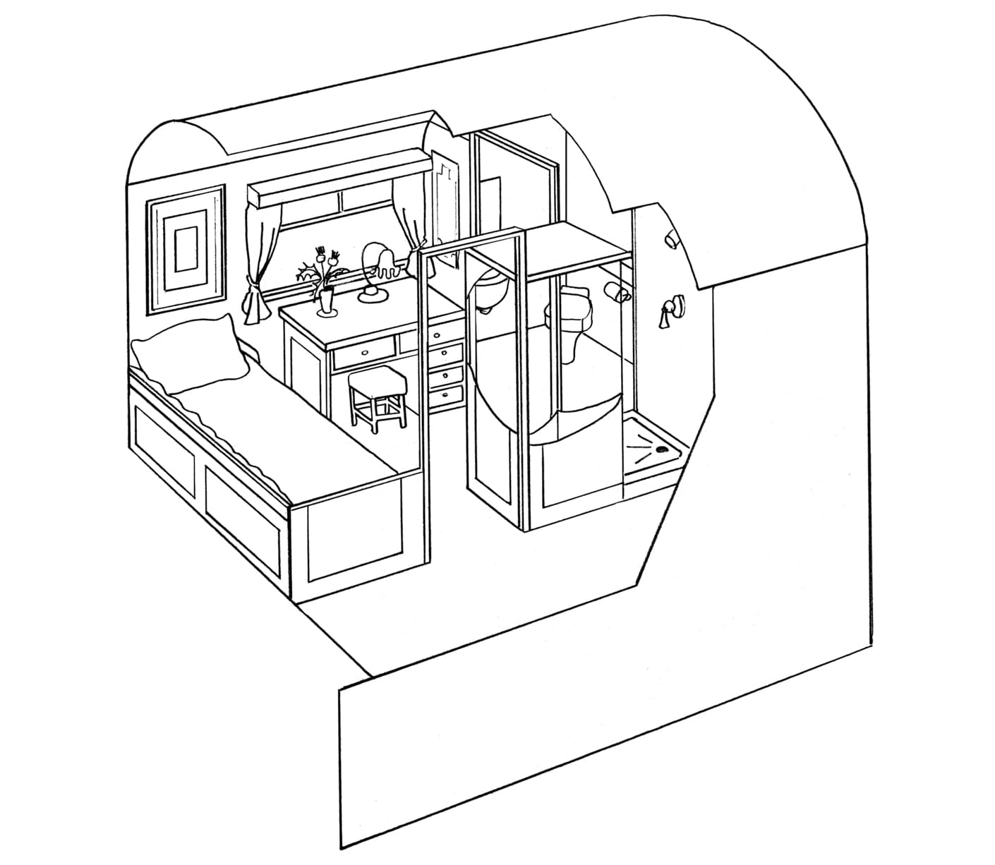 Single cabin diagram of the Belmond Royal Scotsman train