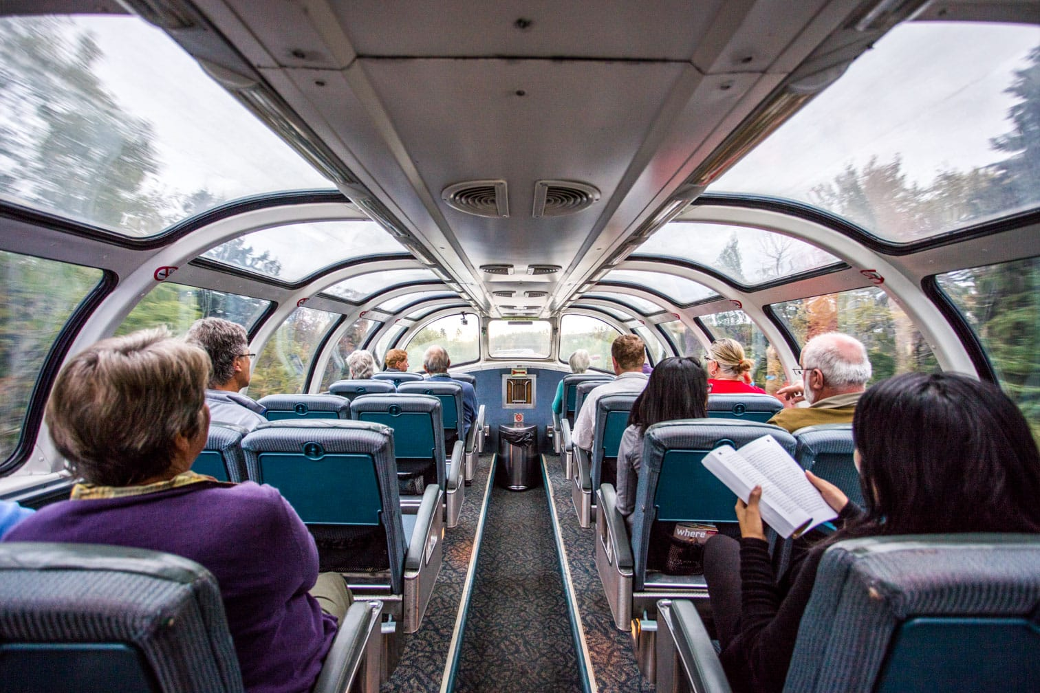 Passengers traveling on the Canadian train