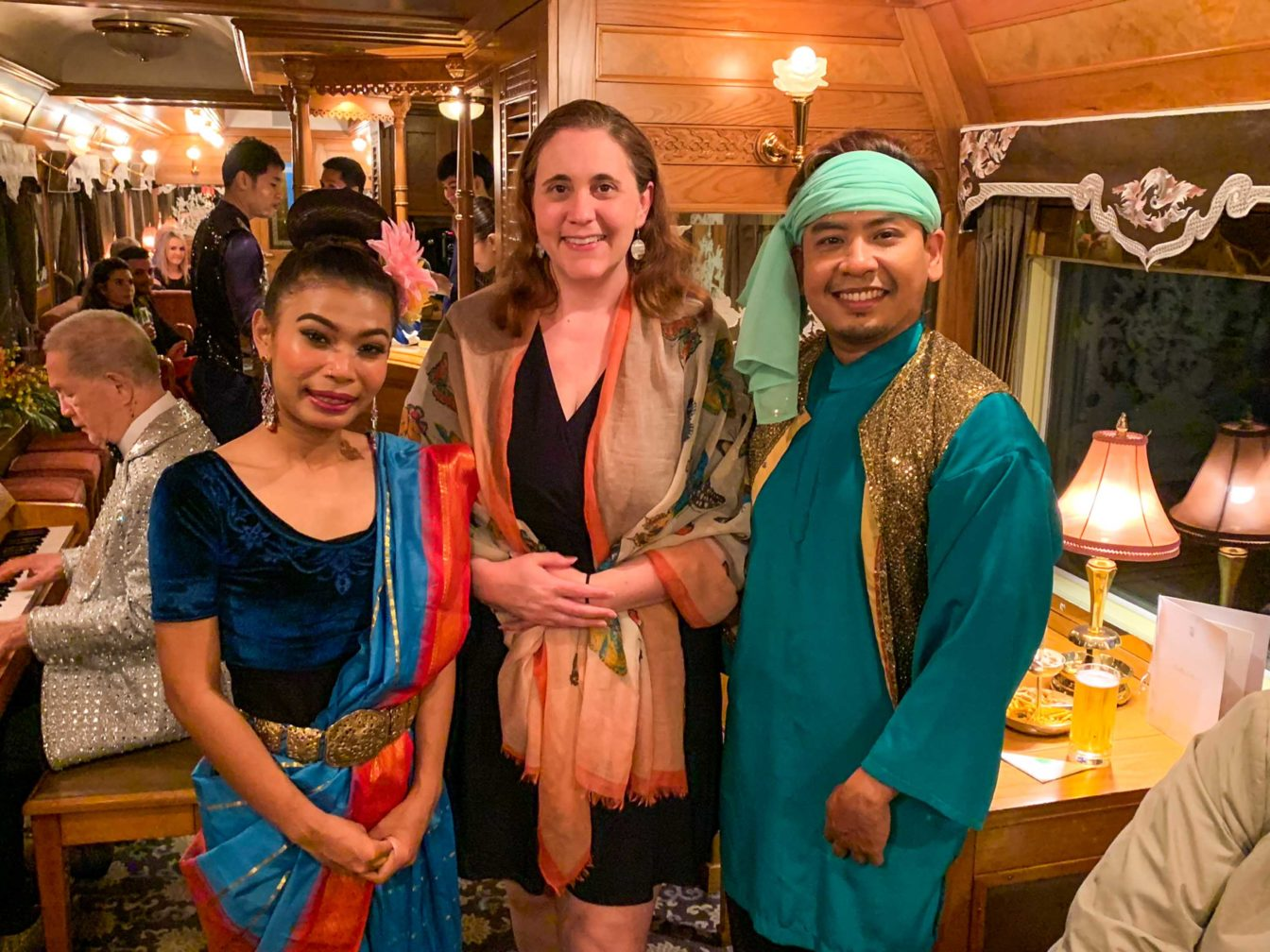 Guests dressed up for a celebration on the Eastern & Oriental Express