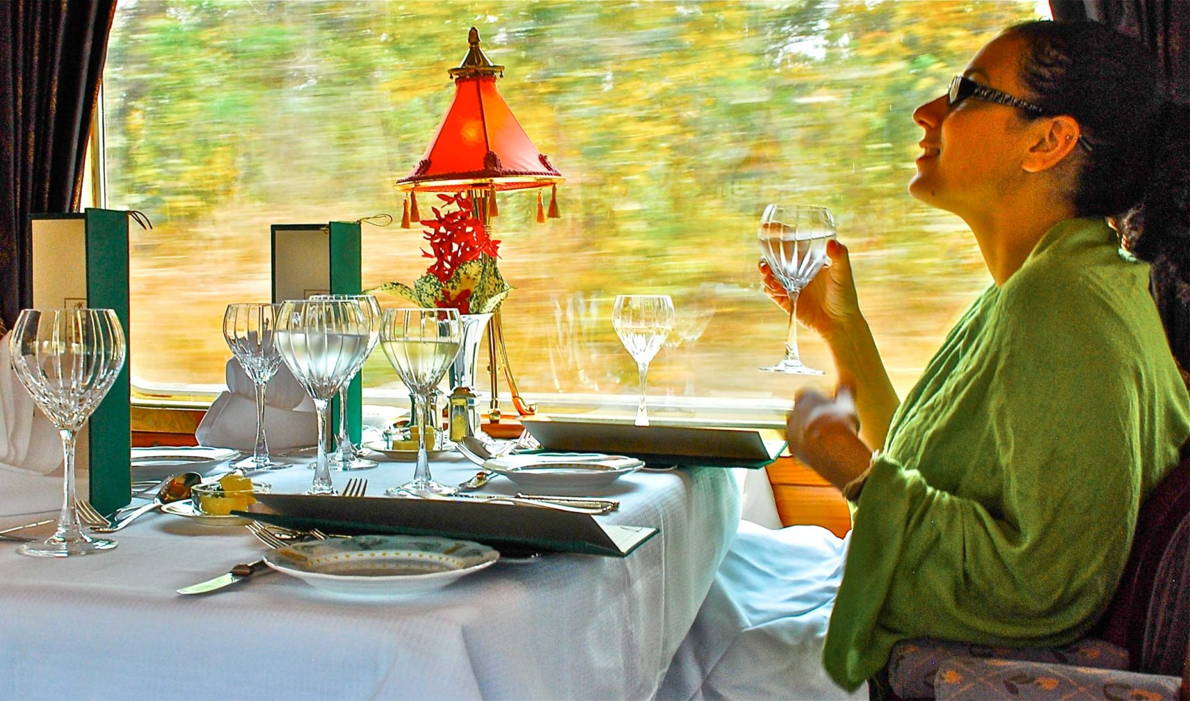 Guest drinking water on the Eastern & Oriental Express