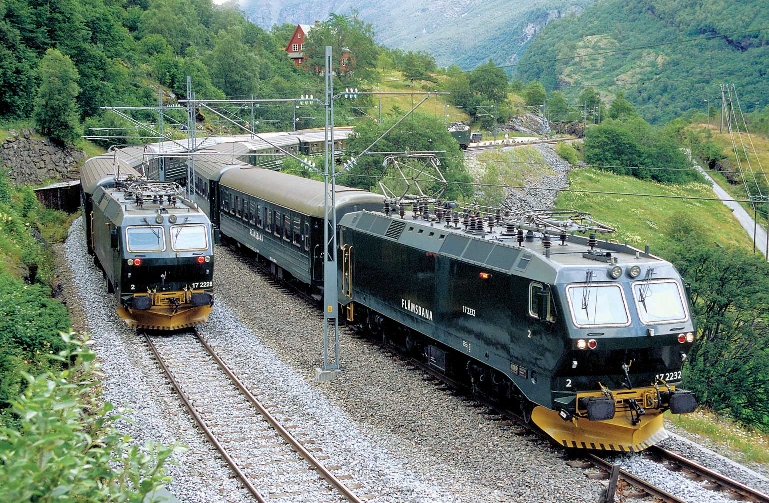 Exterior of two Flam Railway trains