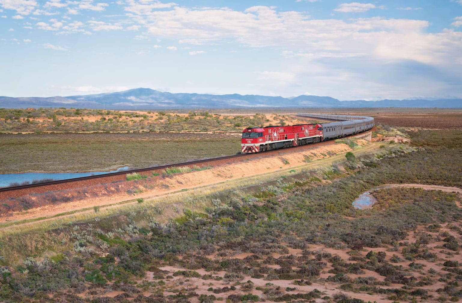 The Ghan train heading north out of Port Augusta near Yorkeys Crossing
