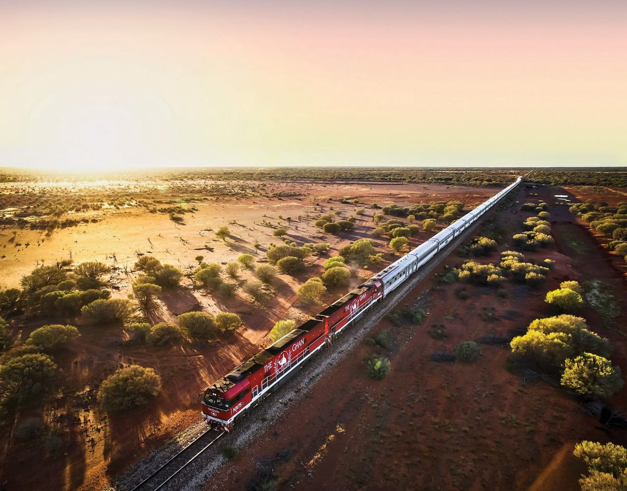 The Ghan train at sunset