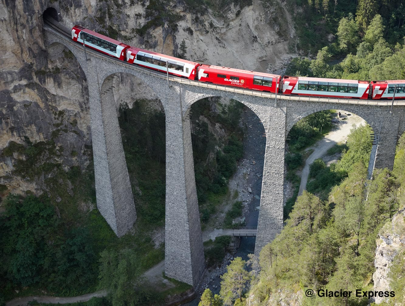 Glacier Express train on a bridge