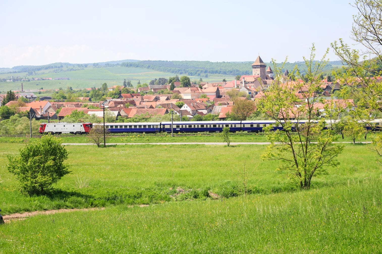 Passing by a village on the Golden Eagle Danube Express train