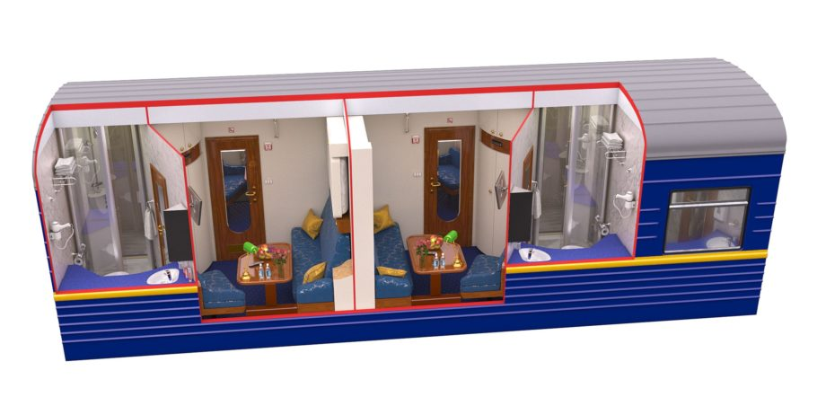 Diagram of the Gold Class during daytime on the Golden Eagle train
