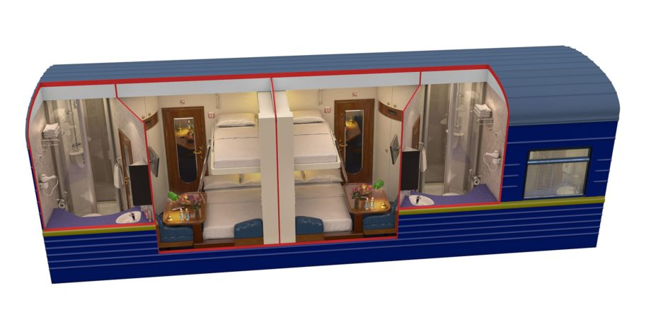 Diagram of the gold class during night time on the Golden Eagle train