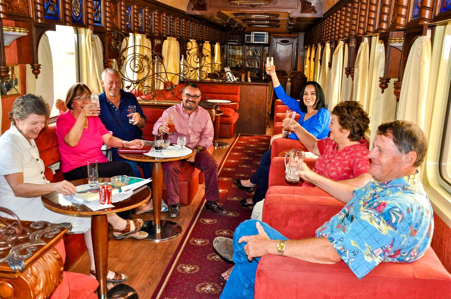 Guests sitting on the Golden Eagle train