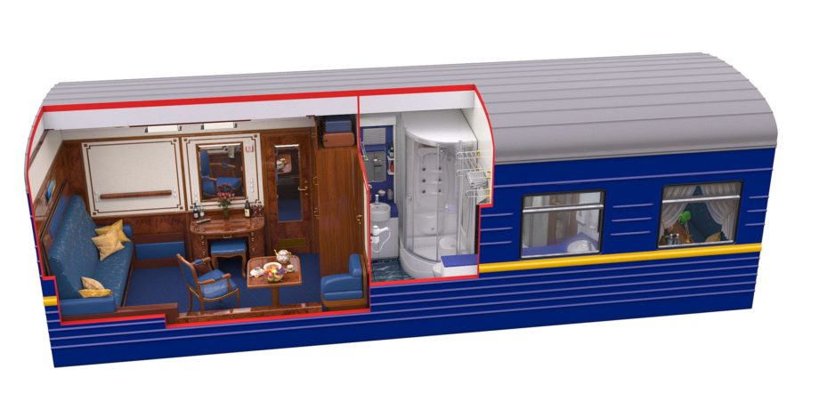 Diagram of the Imperial suite during daytime on the Golden Eagle train