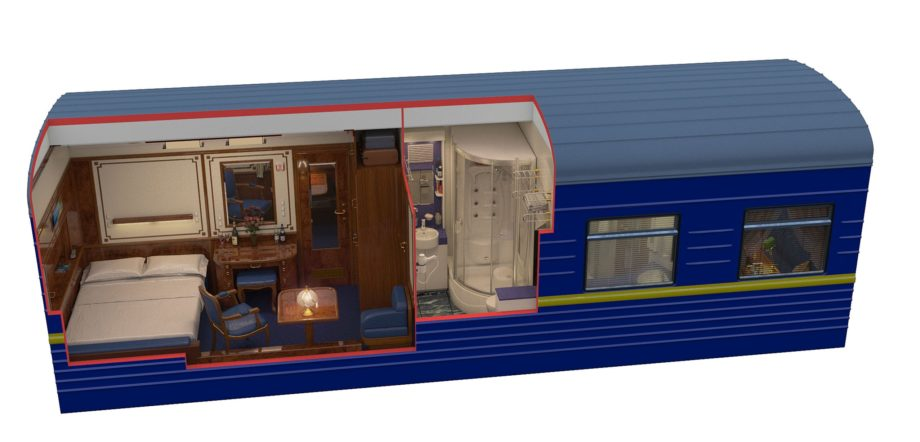 Diagram of the Imperial suite during night time on the Golden Eagle train