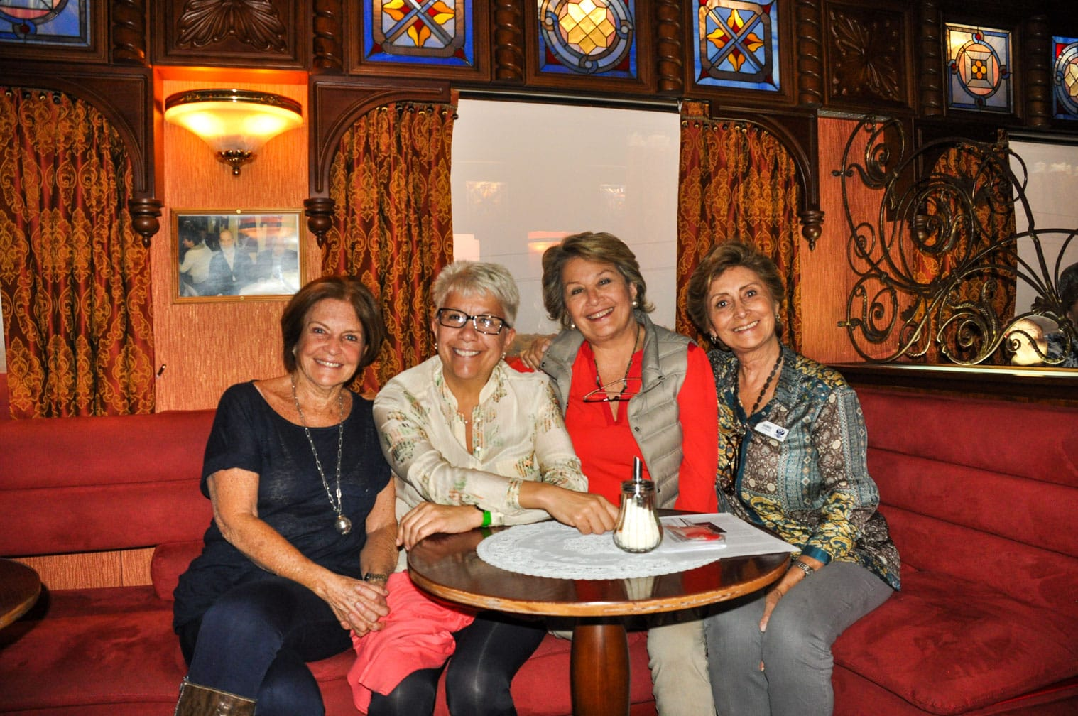 Four women sitting in the Golden Eagle train
