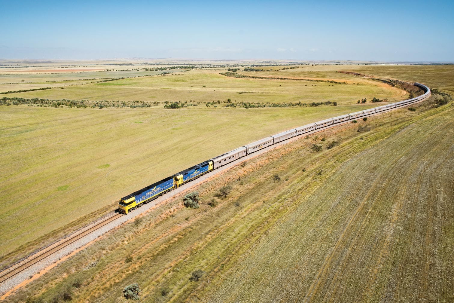 Indian Pacific train heading east through Clare Valley