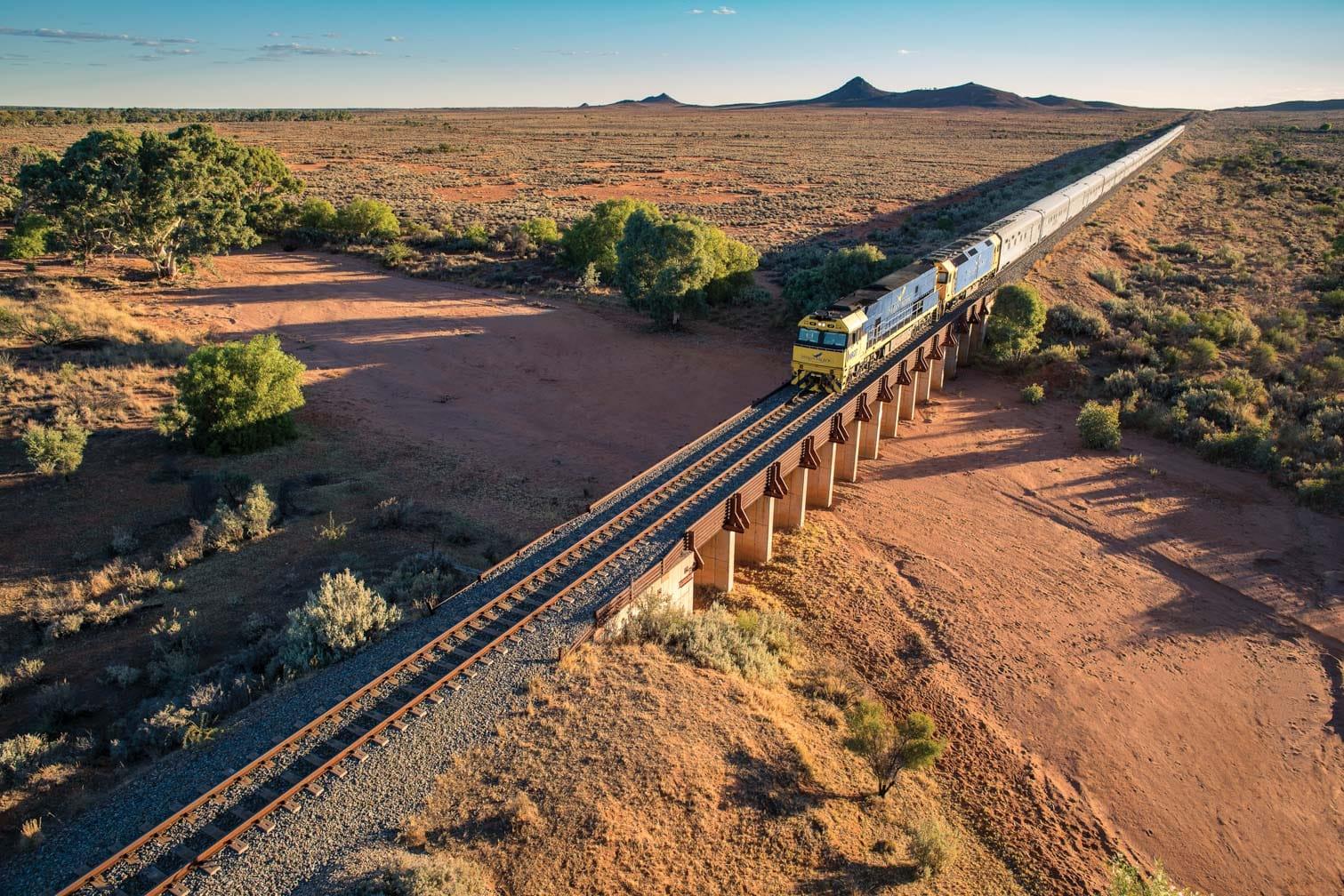 Indian Pacific train heading east towards Broken Hill Pinnacles