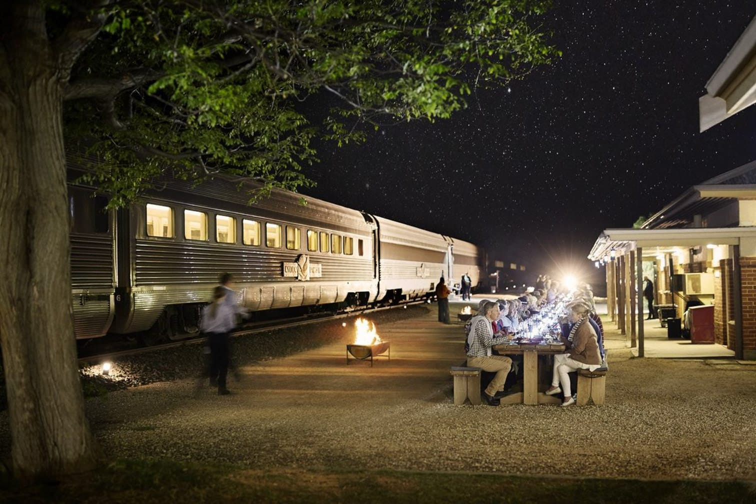 Night in station on the Indian Pacific train