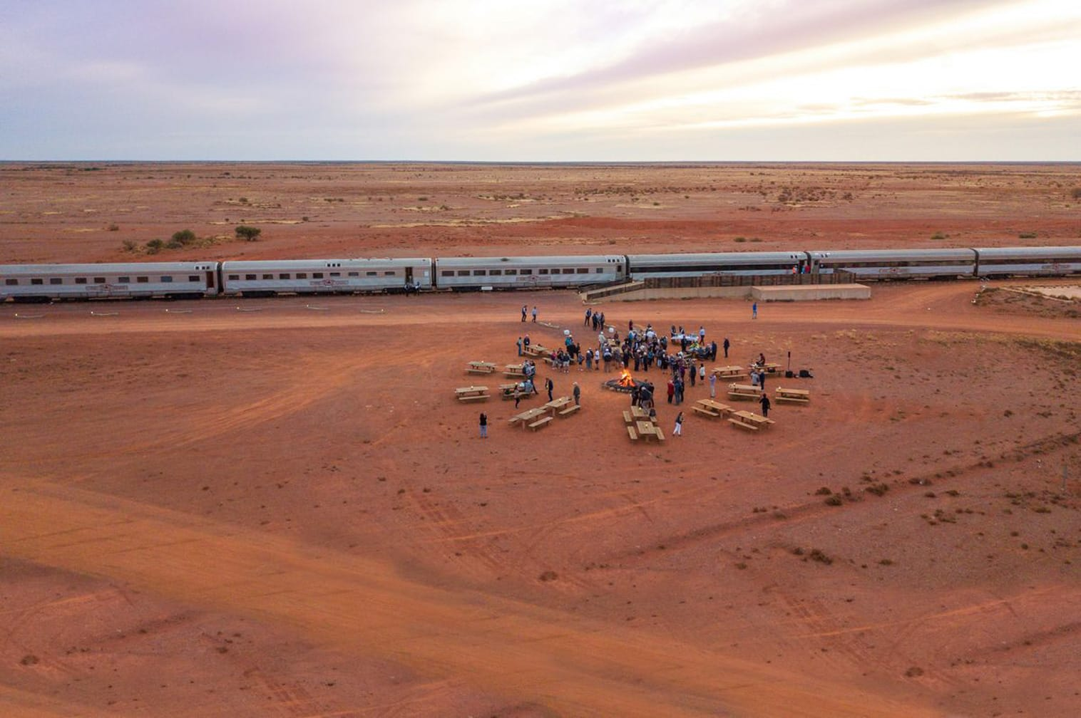 Bonfire in the outback on the Indian Pacific train