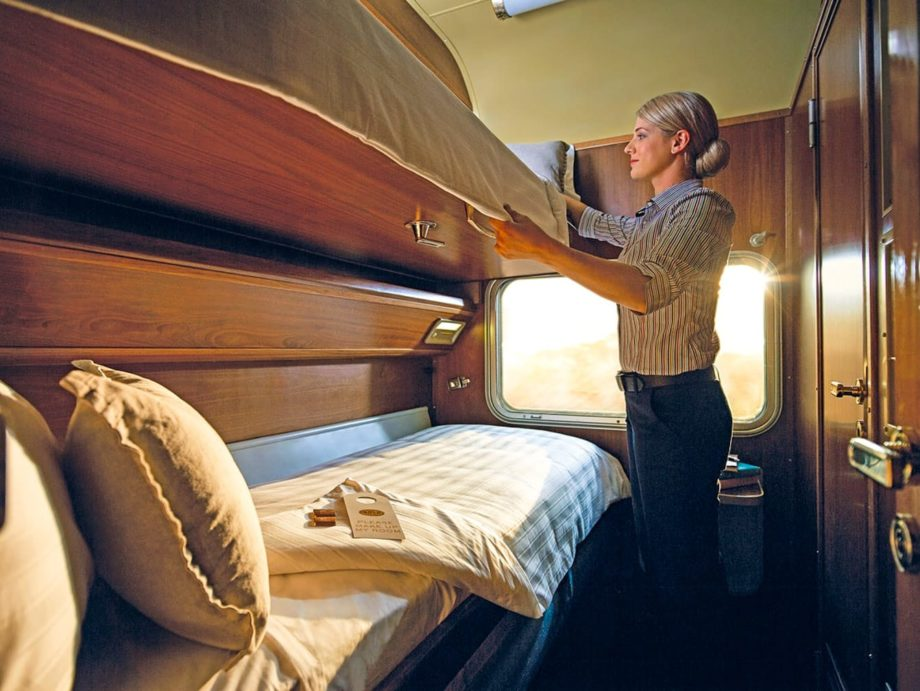 Gold Service in the Twin cabin at night on the Indian Pacific train