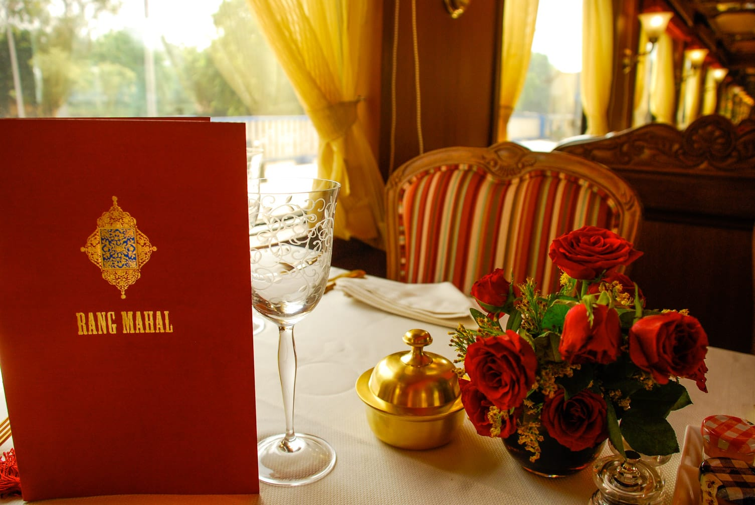 Table set for dinner on the Maharajas' Express train