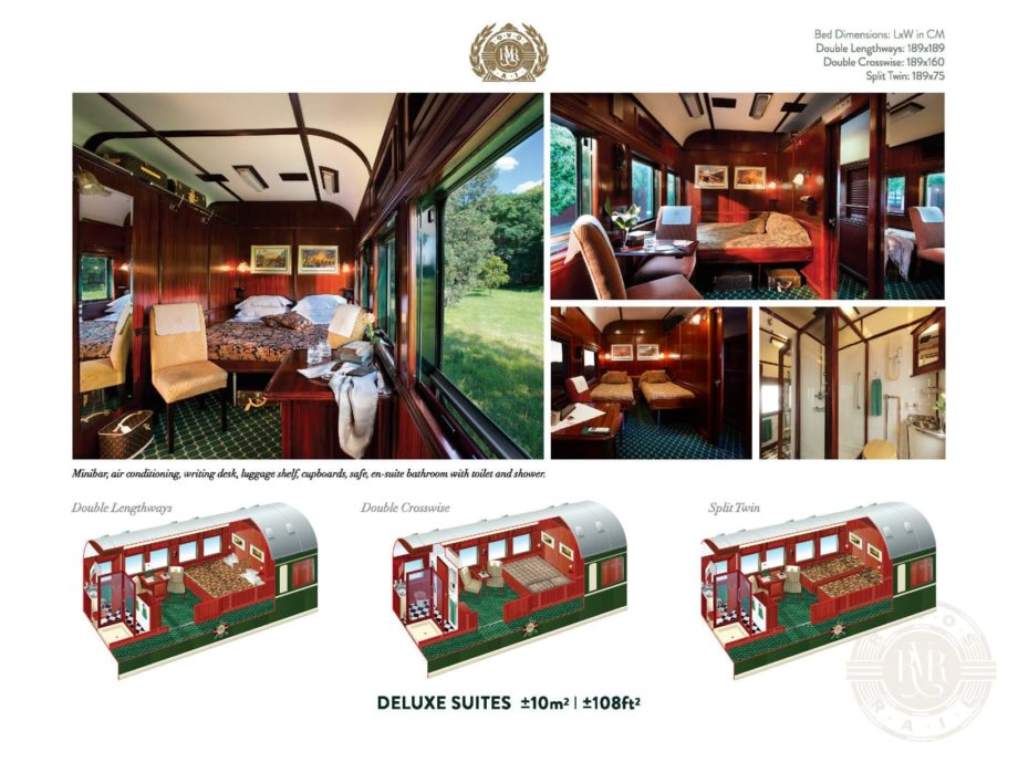 Interior of the Rovos Rail Pride of Africa deluxe suite