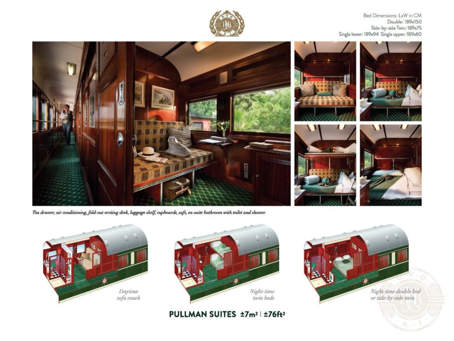 Interior of the Rovos Rail Pride of Africa pullman suite