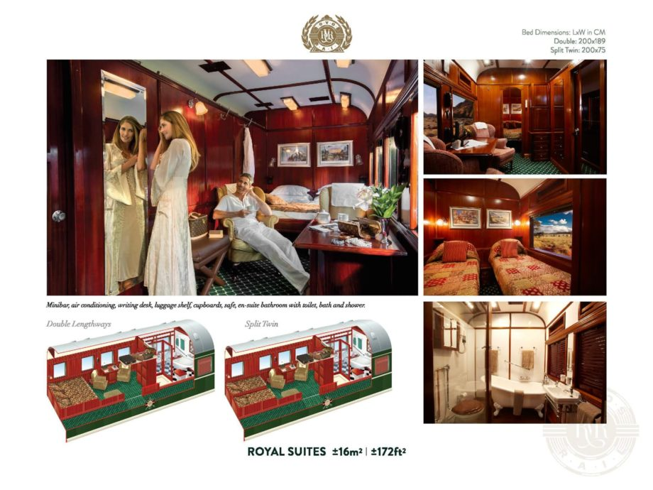 Interior of the Rovos Rail Pride of Africa royal suite
