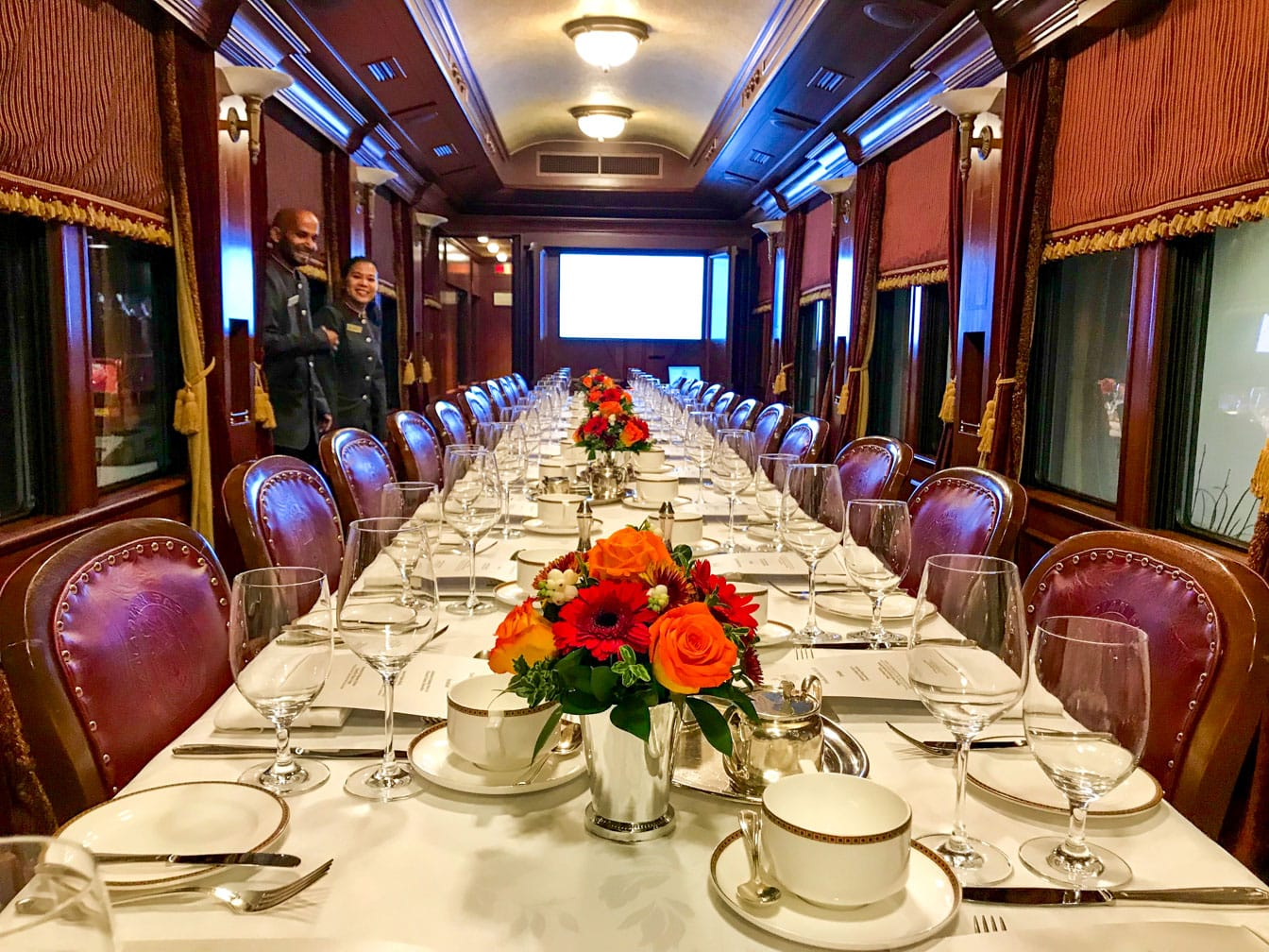 Dining car on the Royal Canadian Pacific train