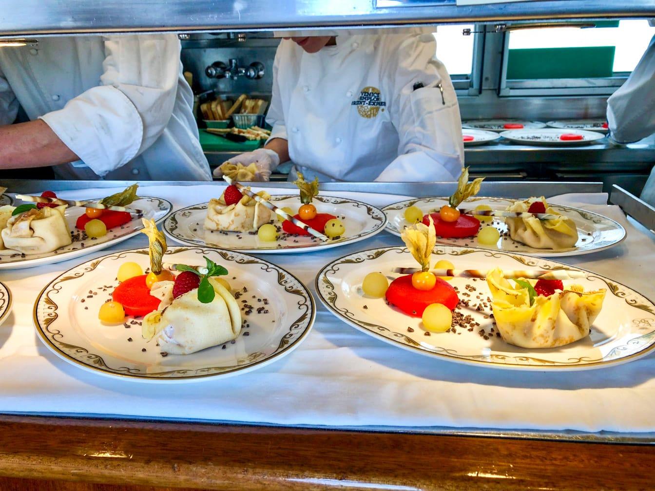 Preparing meals in the Venice Simplon-Orient-Express (VSOE) train