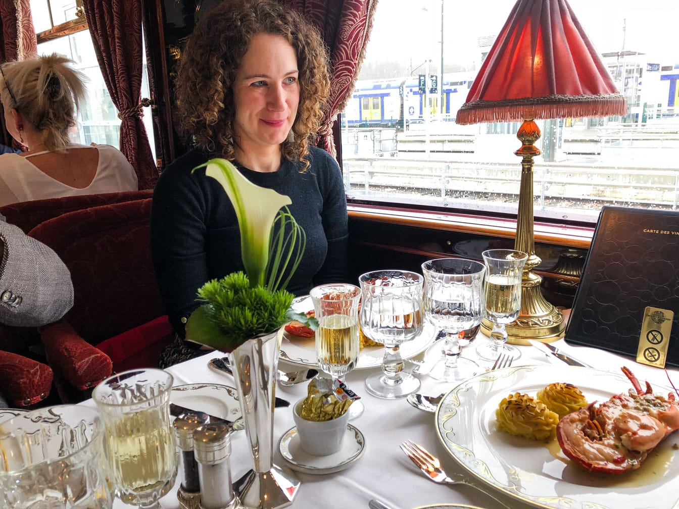 Lucy eating lunch on the Venice Simplon-Orient-Express (VSOE) train