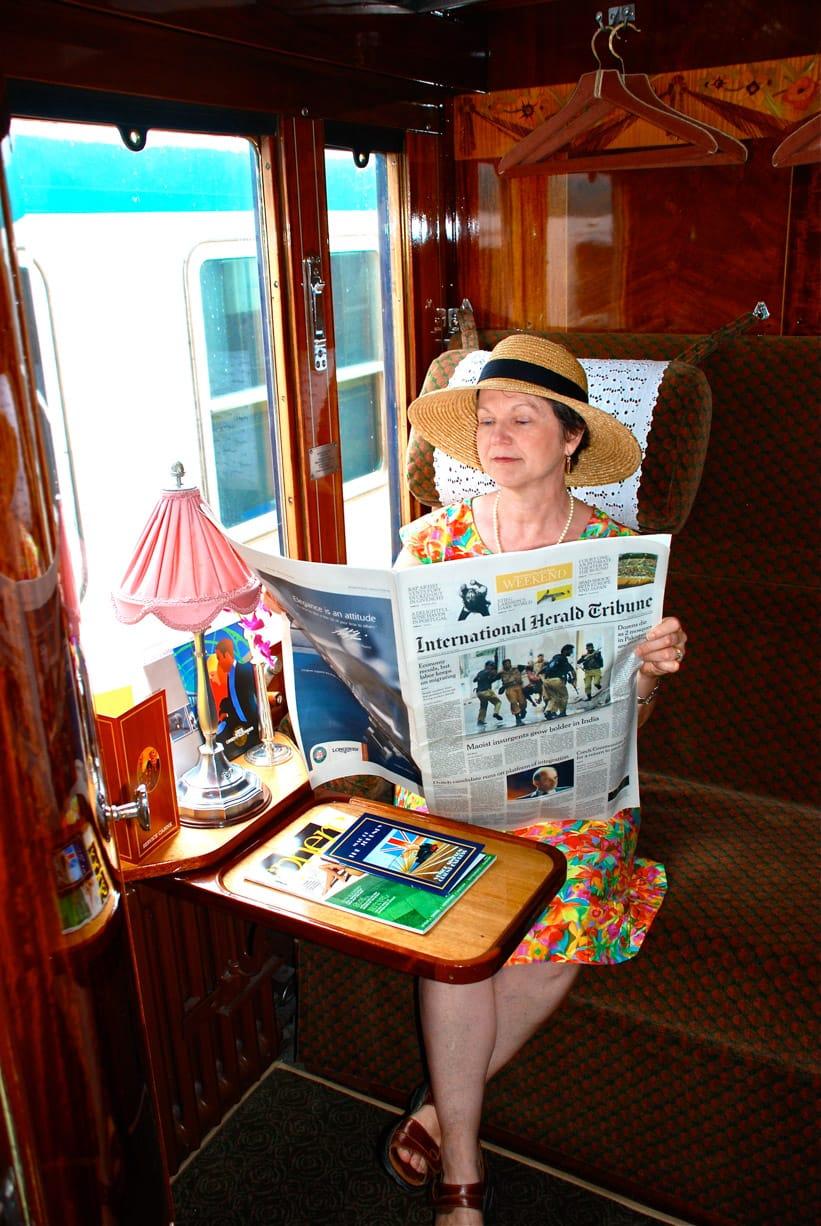 Woman reading on the Venice Simplon-Orient-Express (VSOE) train