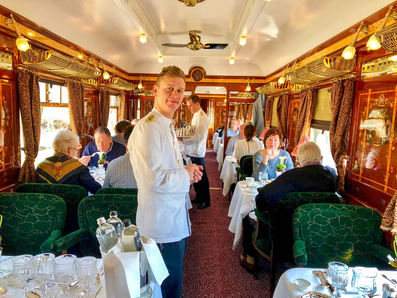 Waiter in the dining car of the Venice Simplon-Orient-Express (VSOE) train