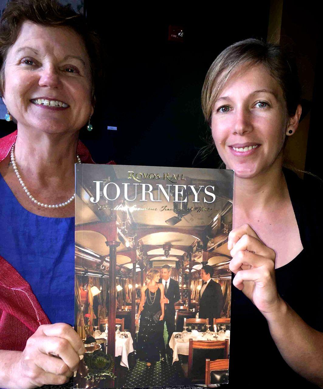 IRT Society President Eleanor Hardy and Rovos Rail's Alicia Taljaard pose with the company's lavish