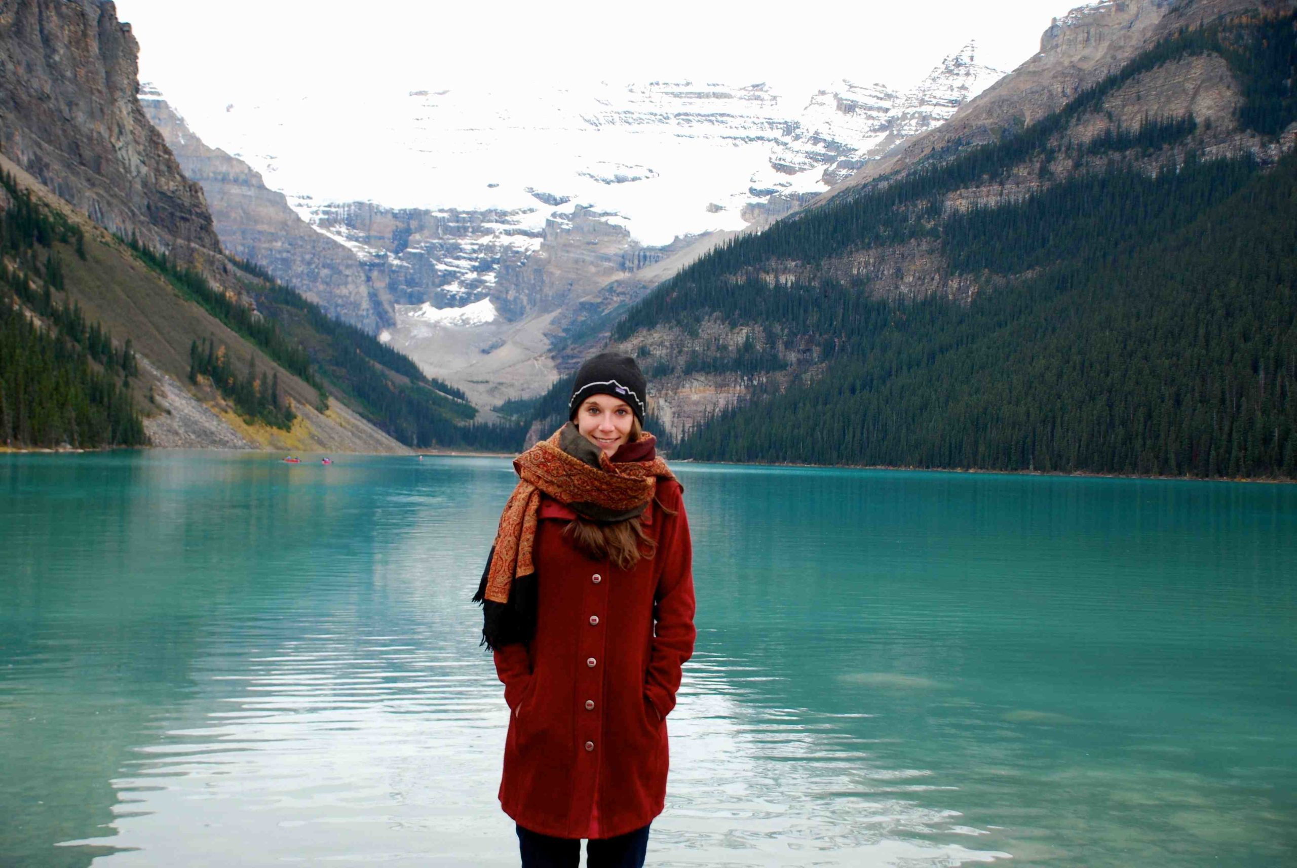 The author, bundled in her winter coat, scarf and hat, at Lake Louise. IRT photo by Belinda