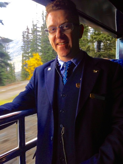 Rocky Mountaineer steward poses for a quick shot. IRT photo by Rachel Hardy