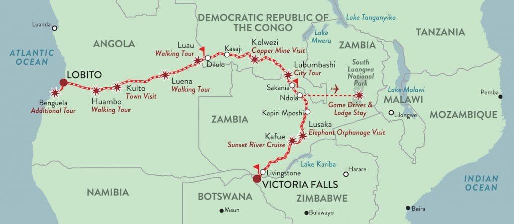 Lobito to Victoria Falls: Copper Trail map