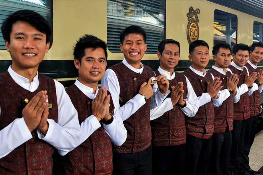 Staff saying goodbye on the Bangkok-Kuala Lumpur by Luxury Train journey