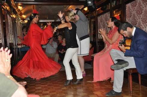 Flamenco dancing after dinner on Al Andalus. IRT Photo by Angela Walker.