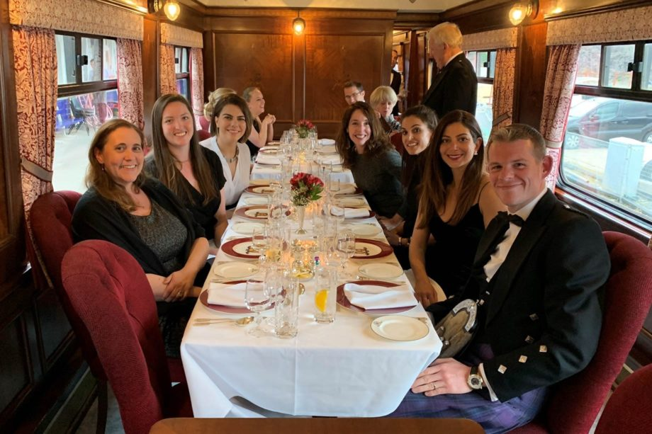 Guests eating dinner on the Grand Western Scenic Wonders journey