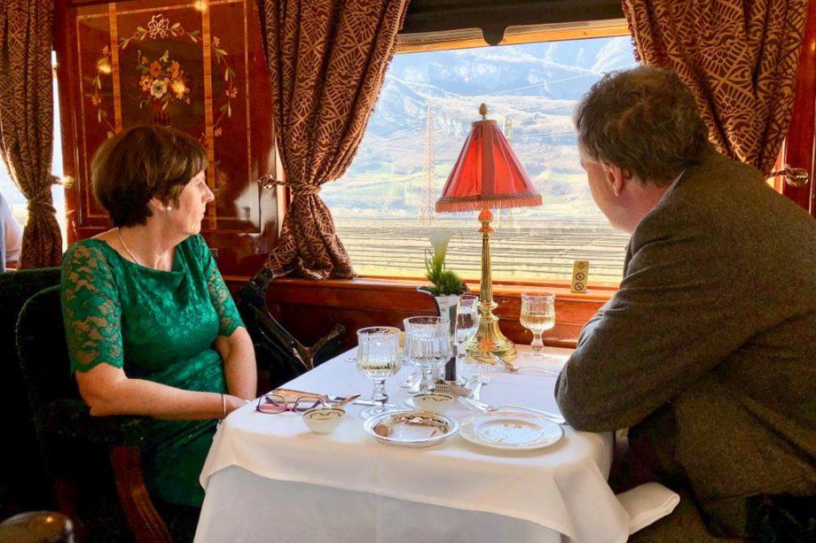 Guests dining on the Paris to Istanbul Annual Journey on the Venice Simplon-Orient-Express journey