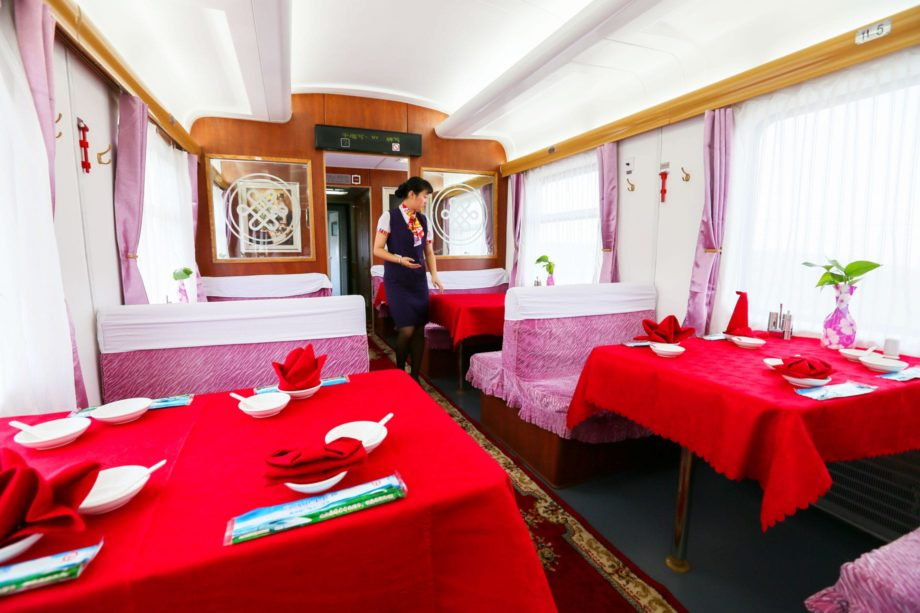 Interior of the restaurant on the Shangri-La Express train
