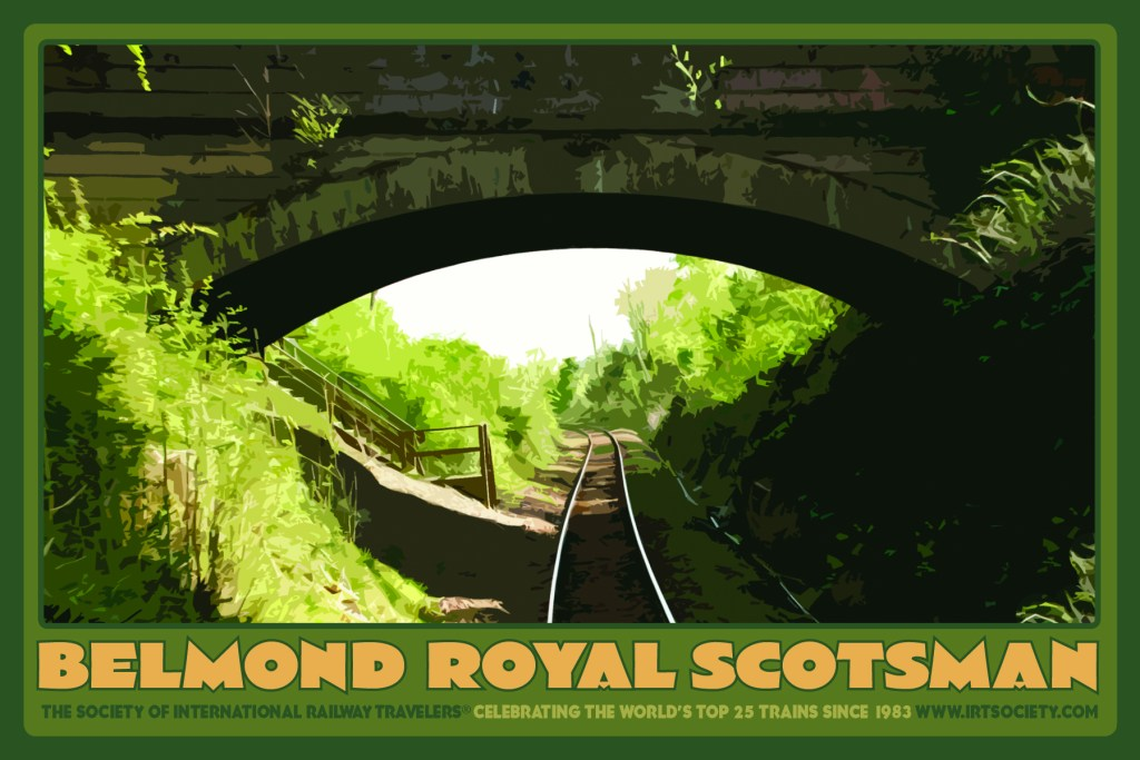 The Belmond Royal Scotsman has just passed under a tunnel in IRT President Eleanor Flagler Hardy's photo from the train's rear, outdoor platform.
