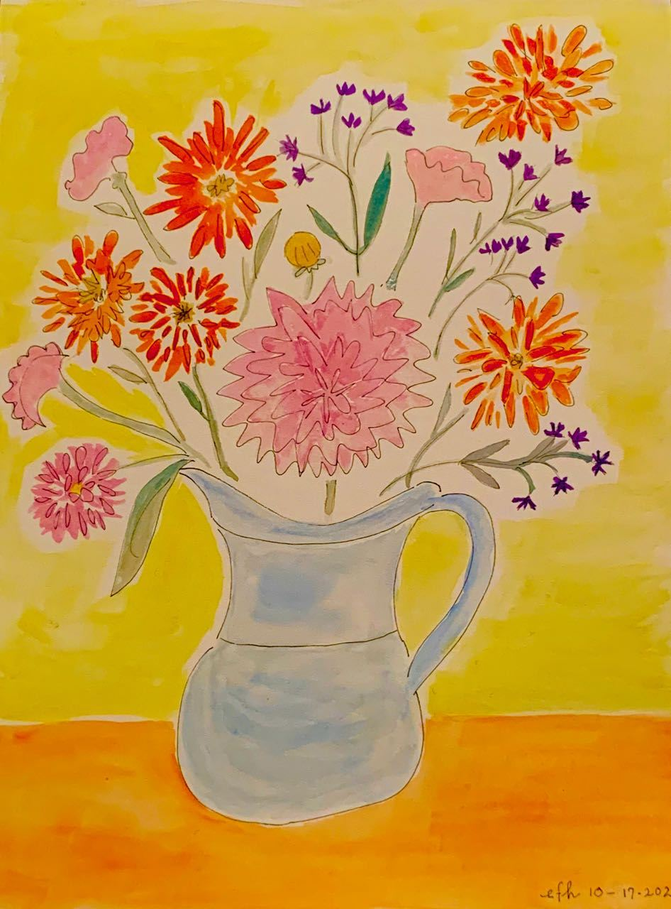 Flowers arranged — and painted by — Eleanor Hardy, IRT President
