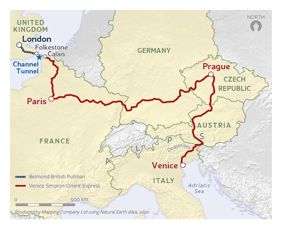Map of the Venice, Prague, Paris, and London Journey