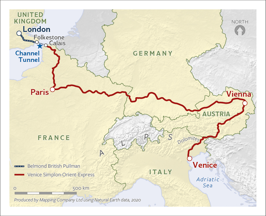 Map of the Venice, Vienna, Paris, and London Journey