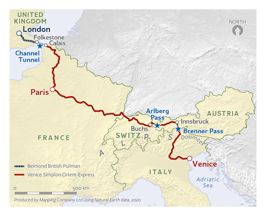 Map of the Venice, Paris, and London journey